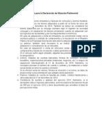 Información Requerida Para La Declaración de Situación Patrimonial