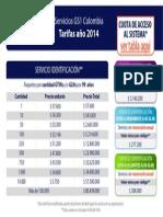 Tarifas Identificacion de Productos 2014