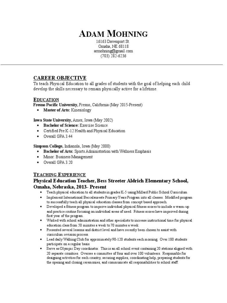 Adam Mohning Resume