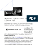 The Miracle in July Author Awarded RACC Professional Grant