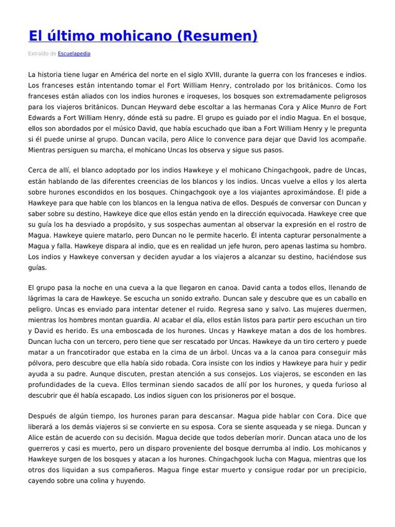 Resumen Ultimo Mohicano Español