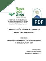Manifestación de Impacto Ambiental MP - Proyecto Semarnat 19nl2015ud013 - Parque Lineal Municipio Guadalupe, N.L.