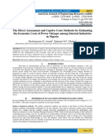 The Direct Assessment and Captive Costs Methods for Estimating the Economic Costs of Power Outages among Selected Industries in Nigeria