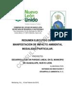 """Resumen Ejecutivo de la Manifestación de Impacto Ambiental Modalidad Particular del Proyecto """"Desarrollo de un Parque Lineal en el Municipio de Guadalupe, Nuevo León"""""""