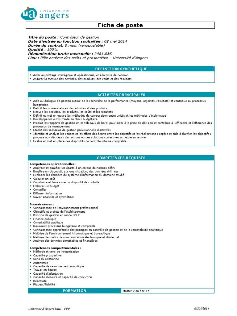 Fiche de Poste Contrôleur de Gestion | Comptabilité | Business