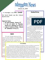 Kindergarten Newsletter January 16