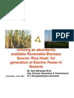 Rice-Husk Generation in NIckerie, Suriname