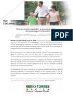 09-05-2015 Motiva a jóvenes deportistas propuesta de la Primera Olimpiada Deportiva Municipal