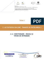 T2_2.4. Chestionare – Reguli Și Tipuri de Întrebări