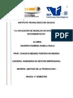 """5.4 APLICACIÓN DE MODELOS DE INVENTARIOS DETERMINÍSTICOS"""""""