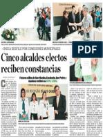 13-06-15 Cinco alcaldes electos reciben constancias