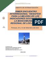 MANCOMUNIDAD REGIONAL de LOS ANDES, I Encuentro Interregional sobre Desarrollo Social, 2013