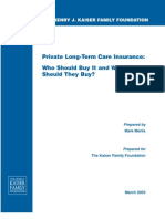 Private Long Term Care Insurance Who Should Buy It and What Should They Buy Report