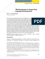 The Role of Metalanguage in Supporting Academic Language Development