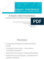 noda educational session- it starts with orientation- connecting student leadership development to retention by kent state university
