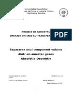 Proiectarea unei linii tehnologice pentru purificarea gazelor cu continut de SO3