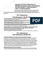 Synopsis of Further Reductions to Baseline Operations