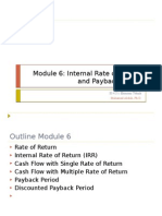 Module 6 IRR and Payback Period