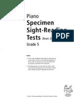 Sight Reading - Specimen Tests G5
