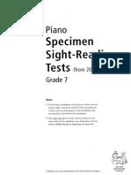 Sight Reading - Specimen Tests G7