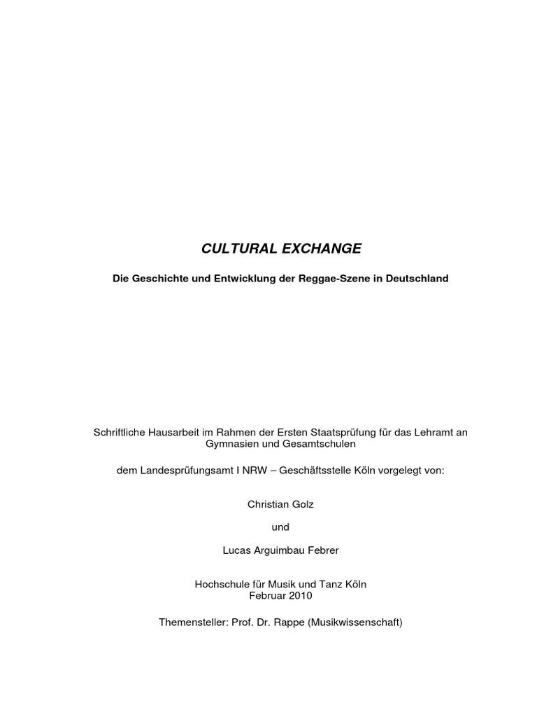Cultural Exchange - Die Geschichte Und Entwicklung Der Reggae-Szene ...