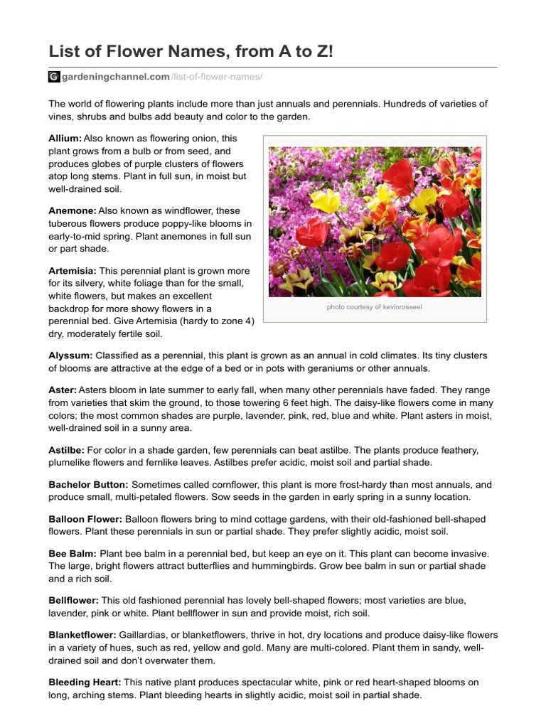 List of flower names from a to z perennial plant flowers izmirmasajfo