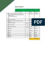 Tabla de Presupuesto