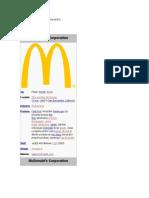 Descriere companie McDonalds'