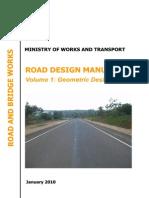Uganda Road Design Manuals. Volume 1 Geometric Design Manual