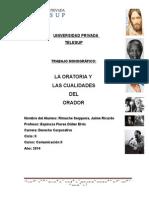 Monografía - La Oratoria y Cualidadades de Un Orador JRR