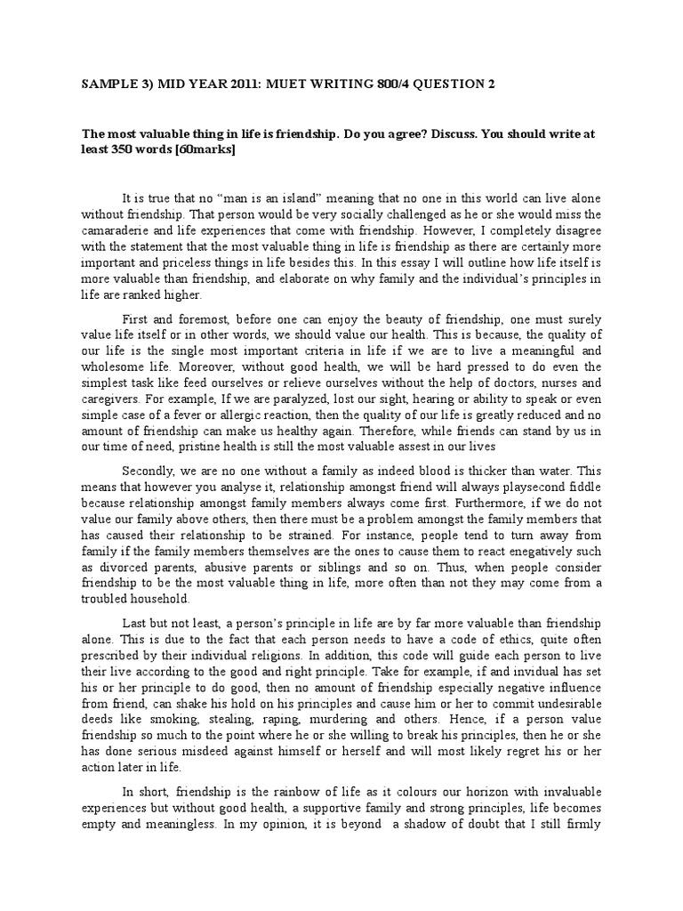 Muet Essay Sample Band 3 Friendship Family