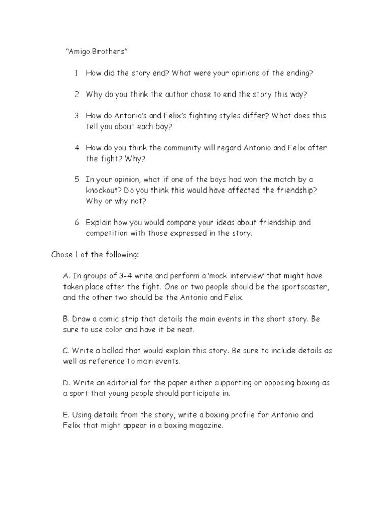 Amigo Brothers Worksheet