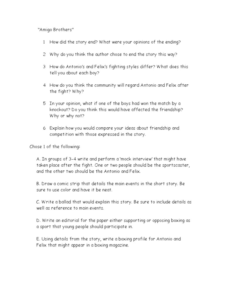 Amigo Brothers Worksheet | Question | Integrity