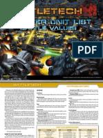 BattleTech Master Unit List Battle Values