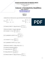 Lista 1 - Álgebra - Matrizes