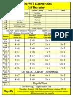 3.5 Thursday WTT Summer X-Team 2015 Schedule - No Contact