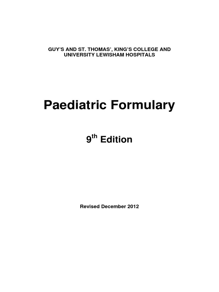 Paediatric formulary 9th edition pharmacy renal function nvjuhfo Choice Image