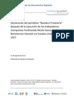 """Declaración Del Periódico """"Bandera Proletaria"""" Después de La Ejecución de Los Trabajadores Anarquistas Ferdinando Nicola Sacco y Bartolomeo Vanzetti en Estados Unidos en 1927"""