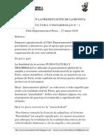 DISCURSO DE PRESENTACIÓN DE LA REVISTA PUNO CULTURA Y DESARROLLO N° 1. Club Departamental Puno, 27 mayo 2015