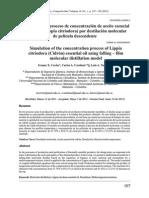 9- Simulación Del Proceso de Concentración de Aceite Esencial de Cidrón (Lippia Citriodora) Por Destilación Molecular de Película Descendente