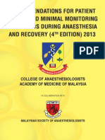 CPG Recommendations for Patient Safety and Minimal Monitoring Standards During Anaesthesia and Recovery