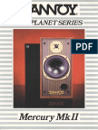 Tannoy Mercury Mk2 Brochure and Specifications