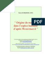 Émile Durkheim - Origine Du Mariage Dans l'Espèce Humaine d'Après Westermarck» (1895)