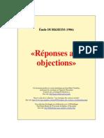 Émile Durkheim - Réponses Aux Objections (1906)