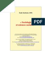 Émile Durkheim - Sociologie Et Sciences Sociales (1909)