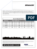 Bianchi Mountain Bike Sizing Chart