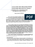 De La Sociologie Des Organisations à La Sociologie Des Institutions