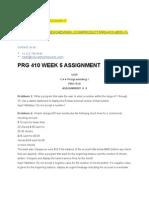 Prg 410 Week 5 Assignment