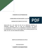 Listado Provisional de Méritos de Maestros Interinos Incorporados de Oficio