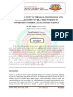 A COMPARATIVE STUDY OF PERSONAL, PROFESSIONAL AND SOCIAL ADJUSTMENT OF TEACHERS WORKING IN GOVERNMENT AND PRIVATE SECONDARY SCHOOLS